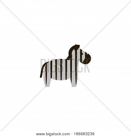 Flat Zebra Element. Vector Illustration Of Flat Horse Isolated On Clean Background. Can Be Used As Horse, Zebra And Animal Symbols.