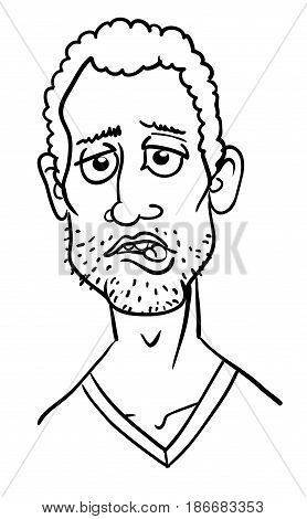 Cartoon image of man biting lip. An artistic freehand picture.