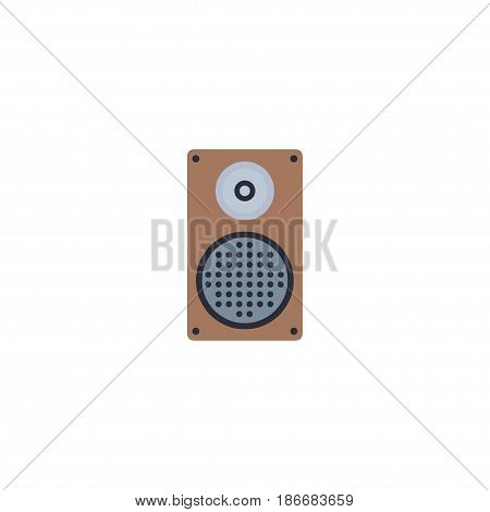 Flat Speaker Element. Vector Illustration Of Flat Audio Box Isolated On Clean Background. Can Be Used As Speaker, Audio And Box Symbols.