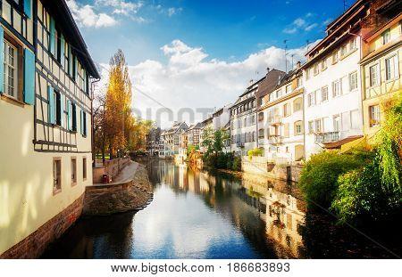 Petit France medieval district of Strasbourg, Alsace France, retro toned