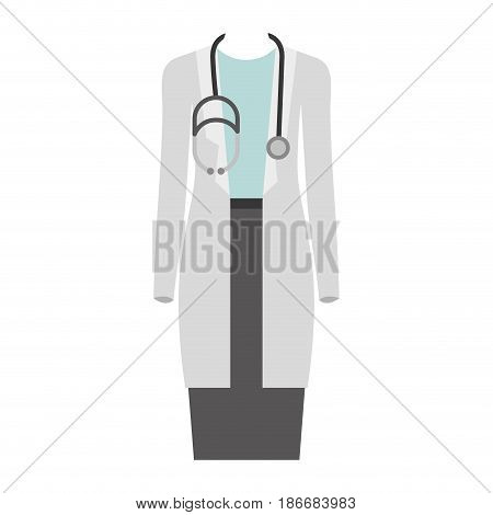 colorful silhouette with female doctor clothing vector illustration