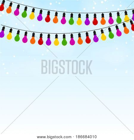 Garland of colored lights on blue festive background. Vector illustration.