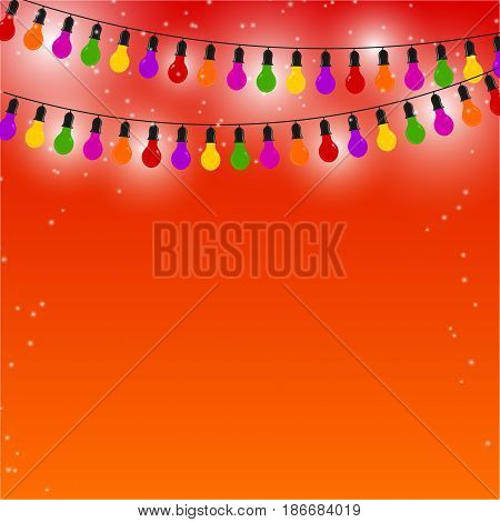 Garland of colored lights on red festive background. Vector illustration.