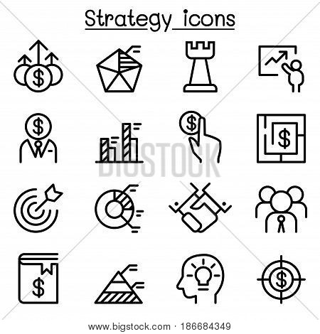 Strategy icon set in thin line style vector illustration Graphic design