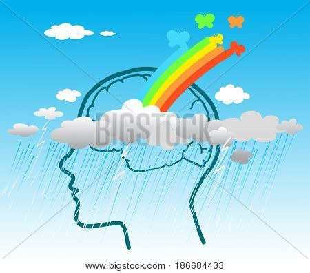 Healing from psychological disease. Vector concept illustration