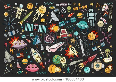 Cartoon vector illustration of space.Moon, planet, rocket, earth, cosmonaut, comet universe Classification milky way