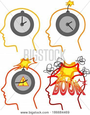 Head of man ready to explode. Concept vector illustration about stressing modern style of life.