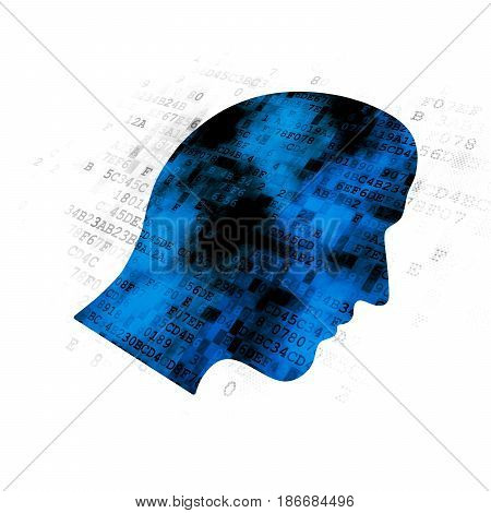 Business concept: Pixelated blue Head icon on Digital background