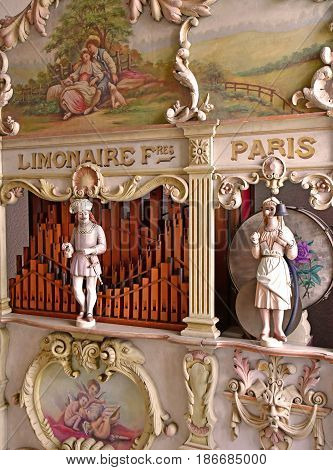 Epernay France - july 26 2016 : a fairground organ in the Champagne Castellane museum