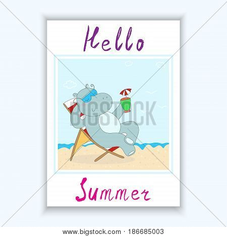 Hand Drawn cute cartoon hippo in the Seashore, vector illustration. Printable template.
