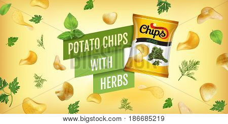 Potato chips ads. Vector realistic illustration of potato chips with herbs. Horizontal banner with product.