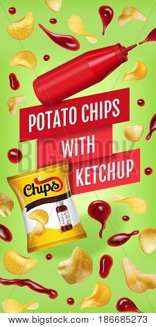 Potato chips ads. Vector realistic illustration with potato chips with ketchup. Vertical banner with product.