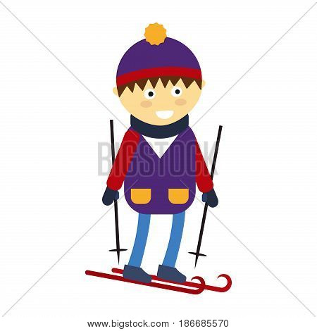Christmas boy playing winter game happy leisure kid character vector illustration. Cartoon new year holidays funny lifestyle. Skiing down person extreme outdoor recreation.