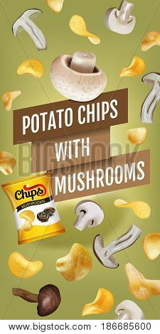 Potato chips ads. Vector realistic illustration with potato chips with mushrooms. Vertical banner with product.