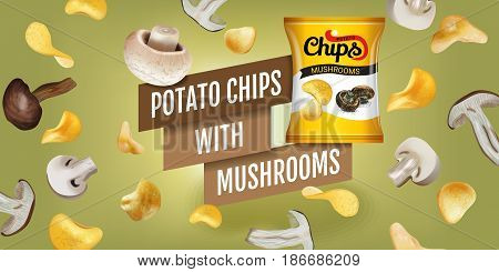 Potato chips ads. Vector realistic illustration of potato chips with mushrooms. Horizontal banner with product.