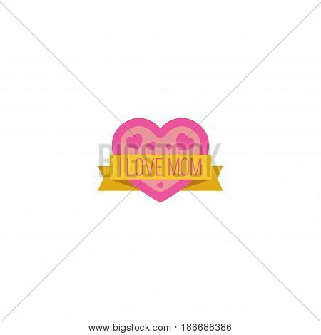 Flat I Love Mom Element. Vector Illustration Of Flat Sticker Isolated On Clean Background. Can Be Used As Mommy, Love And Mom Symbols.