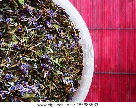 Traditional russian herbal tea from Fireweed leaves: Koporye Tea, Russian Tea or Ivan Chai.