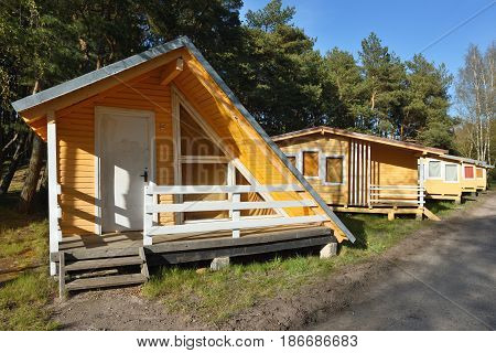 Beach homes for holiday on the Baltic sea coast Sventoji town Lithuania