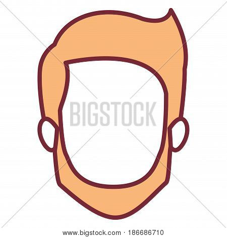 wheat color silhouette of faceless young man with short hair and beard and without moustache vector illustration