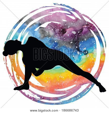 Women silhouette on galaxy astral background. Fully Bound Side Angle Yoga Pose Baddha Parsvokanasana Vector illustration