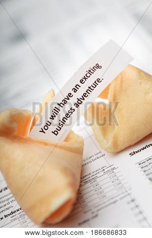 Isolated blank snack crisp cookie newspaper food fortune cookies