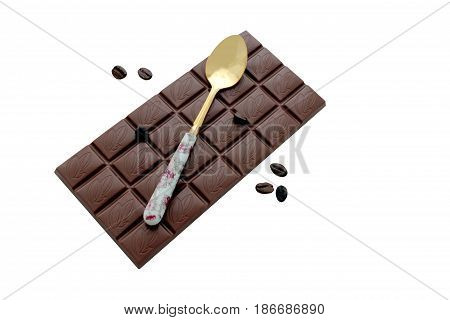 Chocolate bar, coffee beans, spoon, isolated on white background