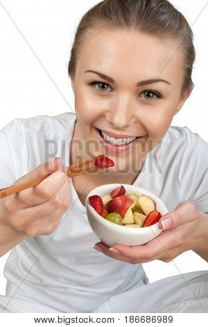 Healthy lifestyle eating food young woman healthy food healthy cheerful
