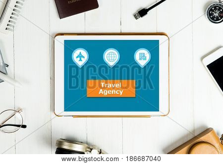 Travel Agency icons and button on Tablet application