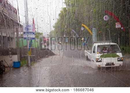 Heavy rain fall during monsoon on Java Indonesia