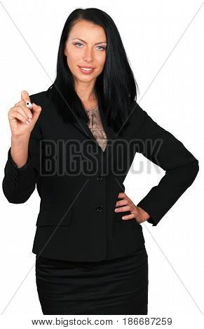 Woman female executive drawing on a board manager writing on a board businesswoman