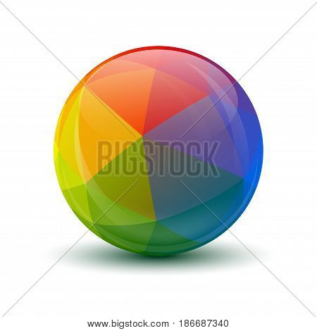 Isolated on white background three-dimensional sphere. Vector illustration.