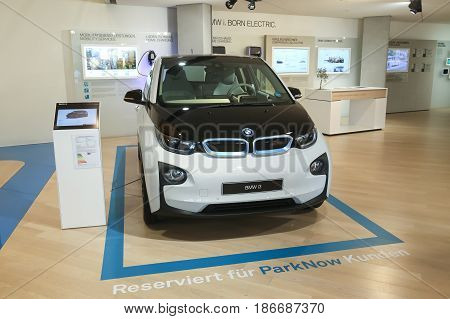 MUNICH GERMANY - MAY 6 2017 : Exhibited BMW i3 electric automobile in the BMW Welt exhibition center in Munich Germany.