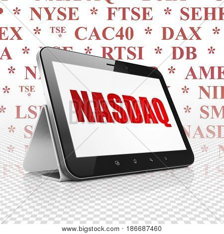 Stock market indexes concept: Tablet Computer with  red text NASDAQ on display,  Tag Cloud background, 3D rendering