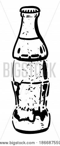 Cartoon image of Bottle Icon. Coke drink symbol. An artistic freehand picture.