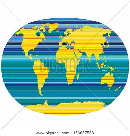 Planet Earth with yellow and blue stripes