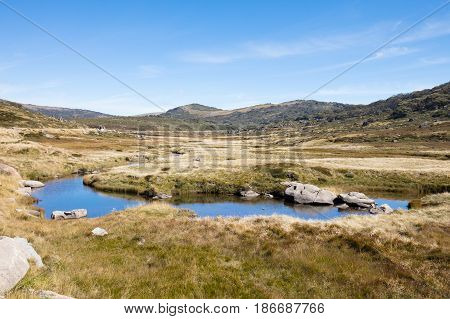Alpine landscape near Perisher on a sunny autumn day in New South Wales, Australia