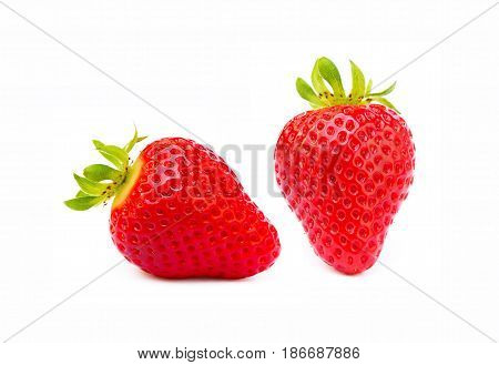 Fresh sweet strawberries isolated on a white background