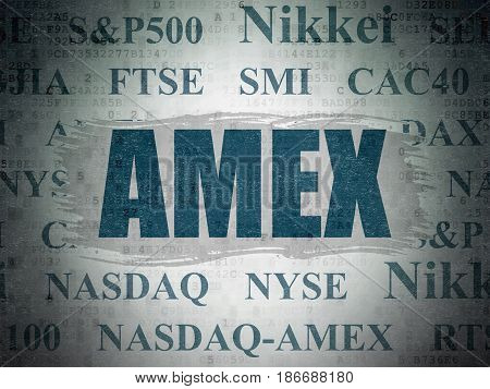 Stock market indexes concept: Painted blue text AMEX on Digital Data Paper background with   Tag Cloud