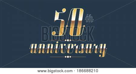 50 years anniversary vector logo. Decorative design element with lettering and number for 50th anniversary