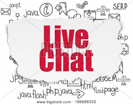 Web development concept: Painted red text Live Chat on Torn Paper background with  Hand Drawn Site Development Icons