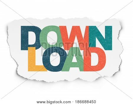 Web design concept: Painted multicolor text Download on Torn Paper background
