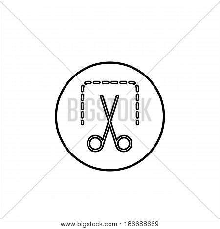 Screenshot line icon, mobile sign and scissors, vector graphics, a linear pattern on a white background, eps 10.