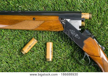 Hunting rifle and cartridges concept on a background of green grass