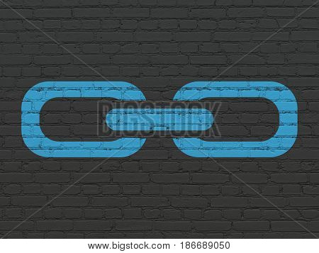 Web development concept: Painted blue Link icon on Black Brick wall background