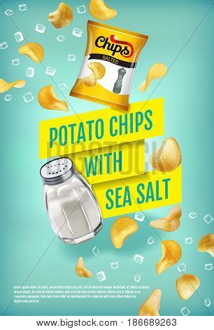 Potato chips ads. Vector realistic illustration with potato chips with sea salt. Vertical poster with product.