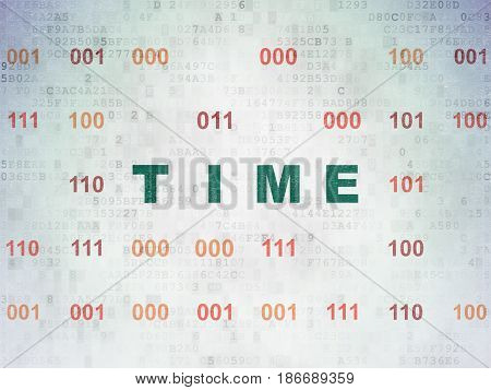 Timeline concept: Painted green text Time on Digital Data Paper background with Binary Code