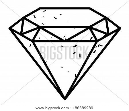 Cartoon image of Diamond Icon. Diamond symbol. An artistic freehand picture.