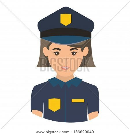 colorful portrait half body of policewoman vector illustration