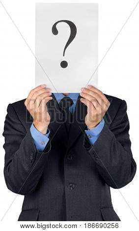 Question mark business in front of isolated portrait uncertainty holding