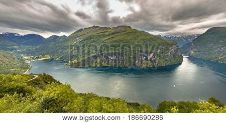 Panorama Of Geirangerfjord Seen From Viewpoint